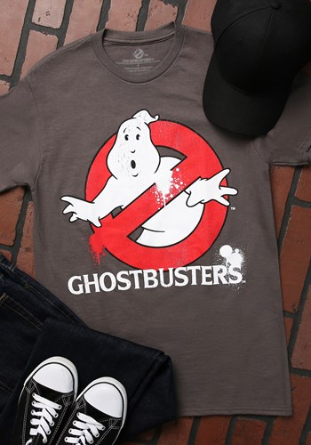 Men's Ghostbusters Distressed Logo Charcoal T-Shirt
