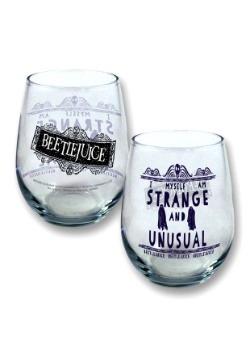 Beetlejuice 21 oz Stemless Wine Glass Strange and Unusual