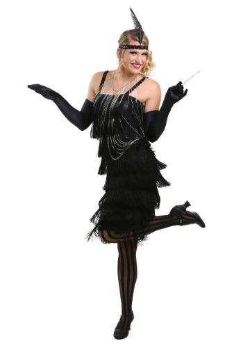Women's Black Charleston Flapper Dress
