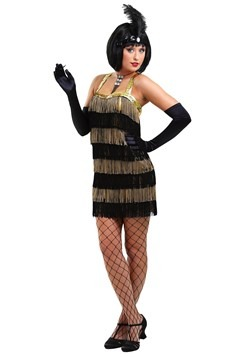 Women's Fringed Gold Flapper Costume