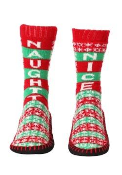 Naughty Nice Knit Christmas Slipper Socks2