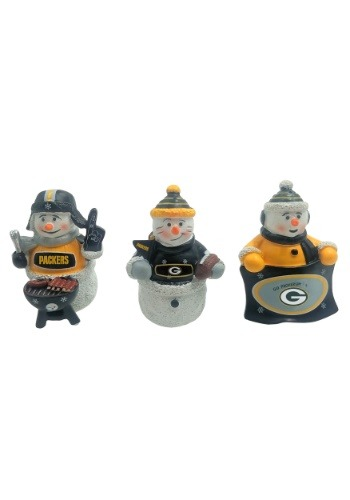 Green Bay Packers 3 Pack Snowman Gameday Ornaments
