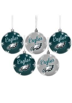 Philadelphia Eagles 5 Pack Shatterproof Ball Ornament Set