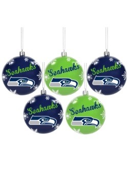 Seattle Seahawks 5 Pack Shatterproof Ball Ornament Set