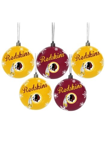 Washington Redskins 5 Pack Shatterproof Ball Ornament Set