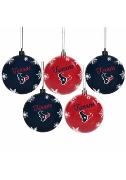 Houston Texans 5 Pack Shatterproof Ball Ornament Set