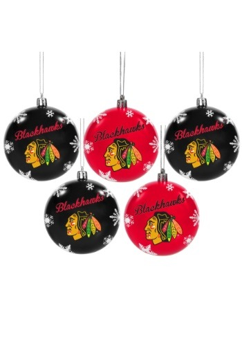 Chicago Blackhawks 5 Pack Shatterproof Ball Ornament Set
