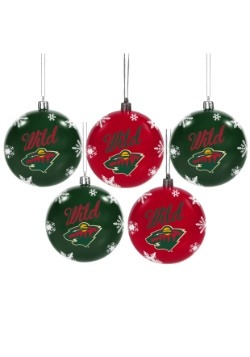 Minnesota Wild 5 Pack Shatterproof Ball Ornament Set