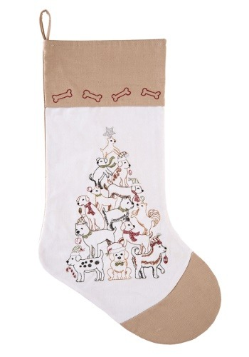 Puppy Christmas Tree Embroidered Stocking