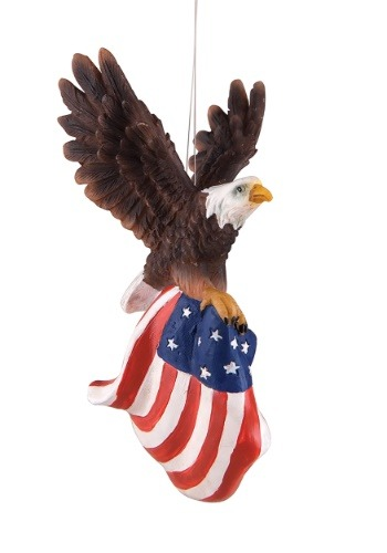 Resin Flying Eagle w/ American Flag Christmas Ornament