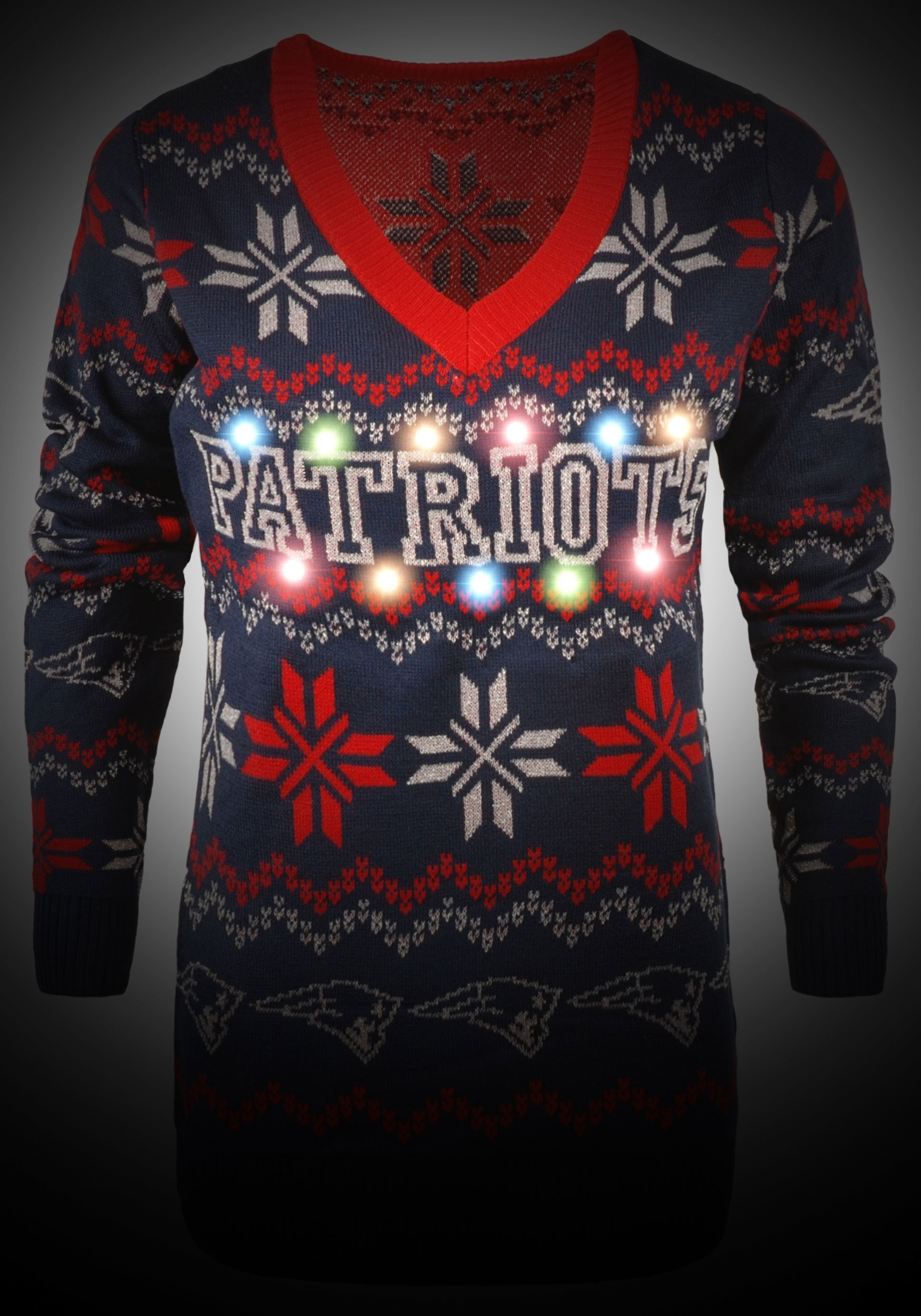 wholesale dealer 4ff25 ef2fe New England Patriots Women's Light Up Ugly Christmas Sweater
