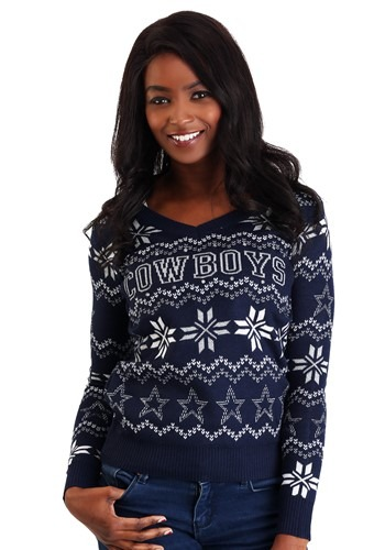 Dallas Cowboys Womens Light Up V-Neck Ugly Christmas Sweater