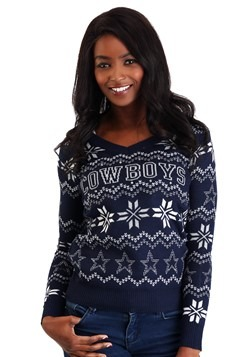 Dallas Cowboys Womens Light Up V-Neck Ugly Christmas Sweater