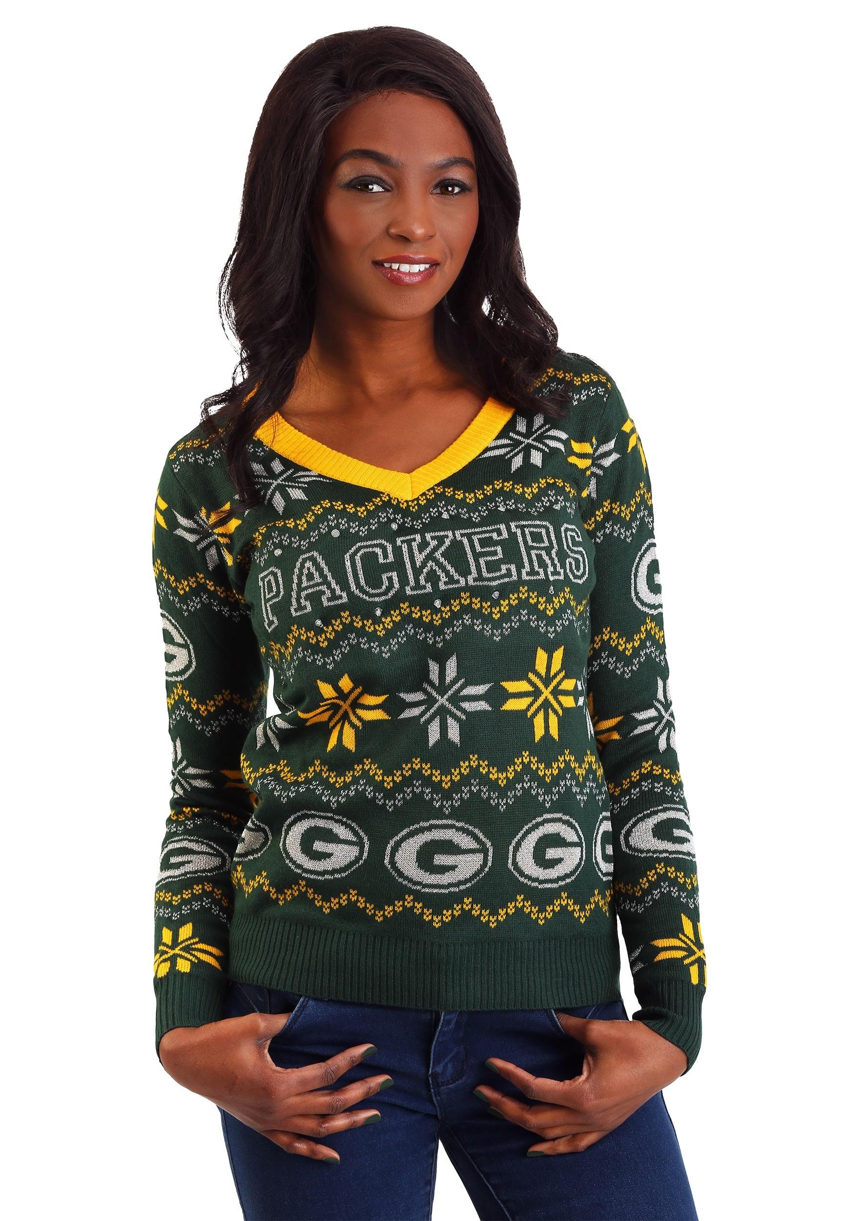 a31f0b84 Green Bay Packers Women's Light Up V-Neck Bluetooth Sweater