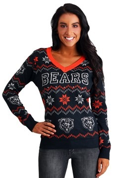 Women's Chicago Bears Light Up V-Neck Bluetooth Ugly Sweater