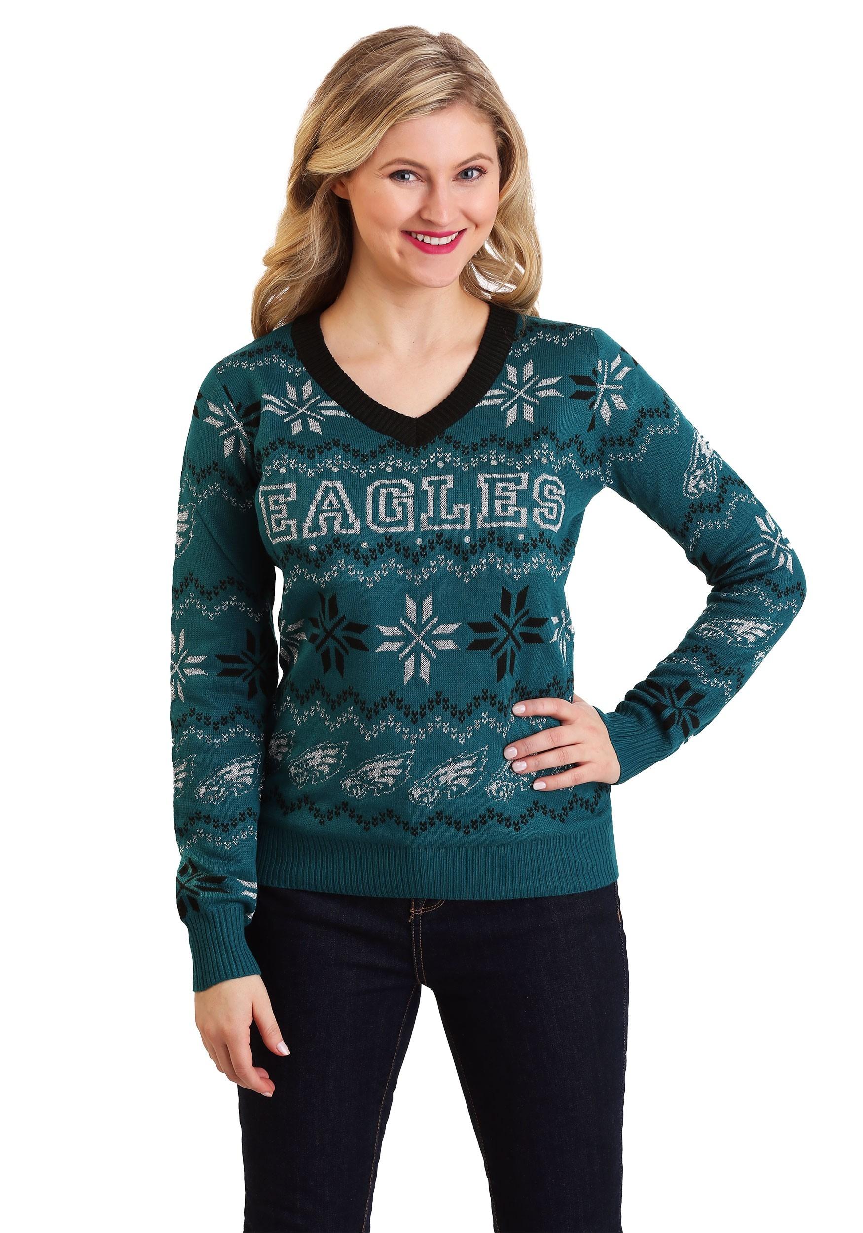 Womens Philadelphia Eagles Light Up V Neck Ugly Christmas Sweater