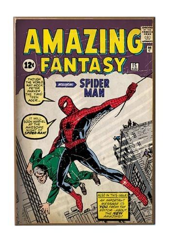"""13"""" x 19"""" Spiderman Amazing Fantasy  Wood Wall Décor"""