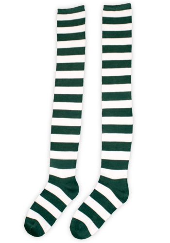 White and Green Striped Long Socks