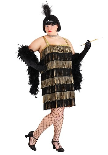 Gold and Black Fringe Flapper Plus Size Costume
