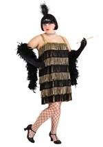 Gold and Black Fringe Flapper Plus Size Costume