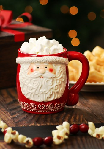 Red Nordic Pattern Santa Face Mug