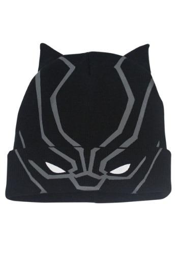 Flip Down Black Panther Knit Beanie