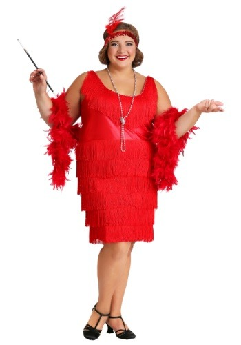 Women's Red Plus Size Flapper Dress