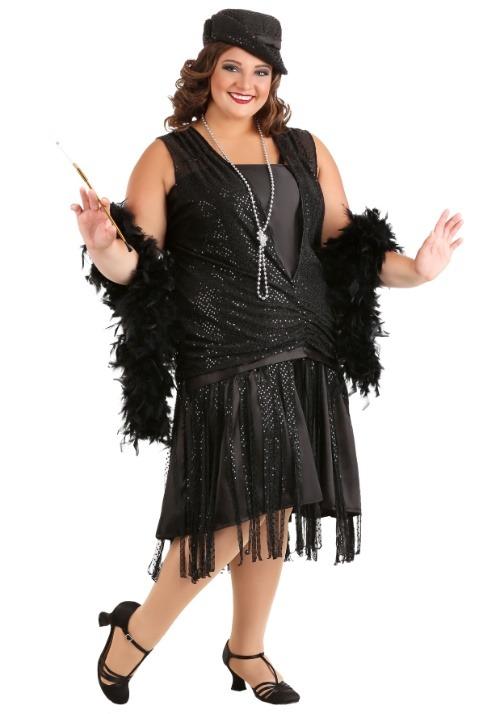 Women's Black Jazz Flapper Plus Size Costume