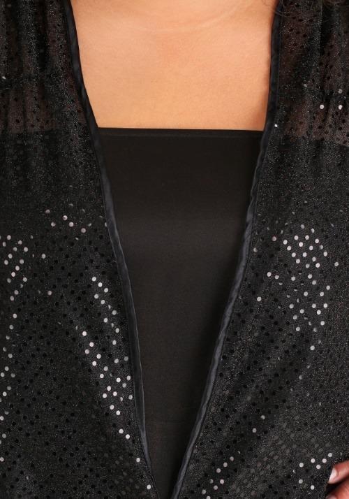 Women's Plus Size Black Jazz Flapper Costume Alt 3