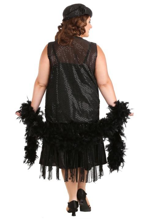 Women's Plus Size Black Jazz Flapper Costume Alt 5