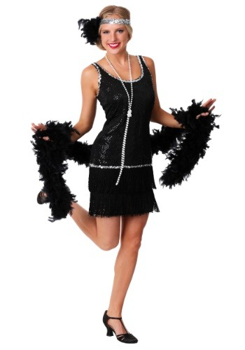 Black Sequin & Fringe Plus Size Flapper Dress
