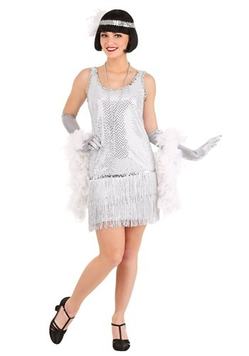 Vibrant Silver Plus Size Flapper Dress