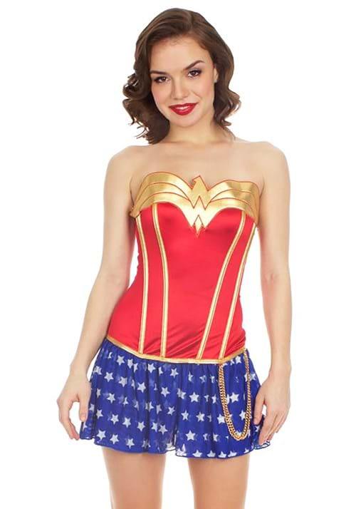 Wonder Woman Foil Satin Corset with Skirt