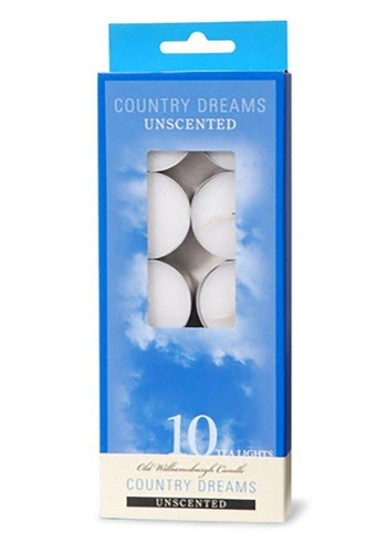 Set of 10 White Unscented Tea Lights