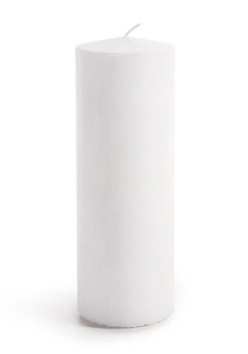"Set of 3 White Unscented Pillar Candles 2-7/8"" x7-7/8"""