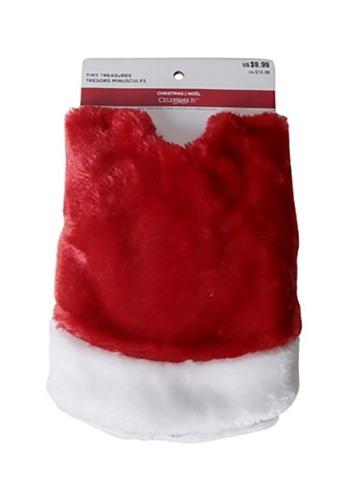"18"" Mini Red Plush Tree Skirt with White Trim"