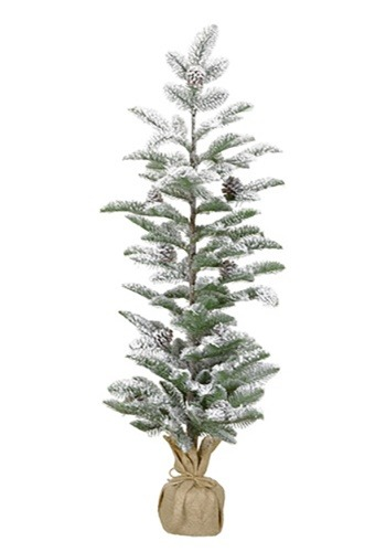 "40"" Snow-Flocked Narrow Christmas Pine Tree with Burlap Base"