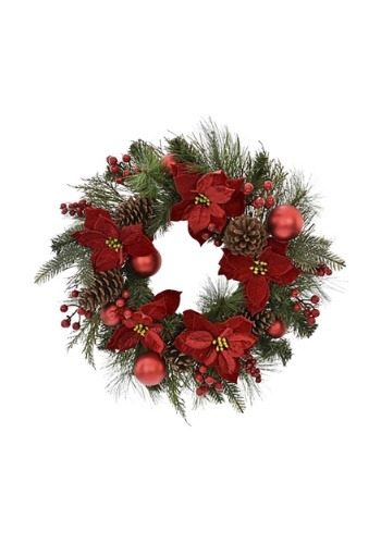"""24"""" Pine and Red Poinsettia Wreath"""