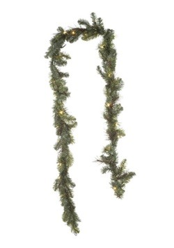9' Mixed Pine Garland with Clear Lights
