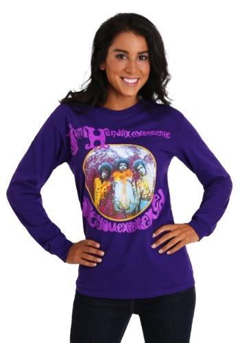 Jimi Hendrix Womens Long Sleeve Purple T-Shirt