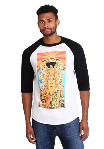 Men's Jimi Hendrix Raglan Elevated Print Raglan Shirt