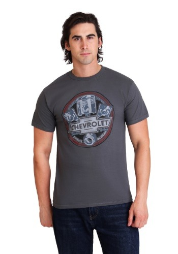 Chevrolet Logo and Pistons Men's Charcoal T-Shirt