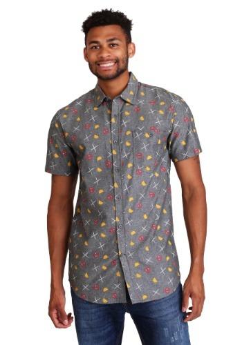 Deadpool Tacos & Swords Men's Button Up Short-Sleeved Shirt