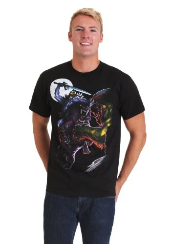 Mens Skeletor in Battle Black T-Shirt