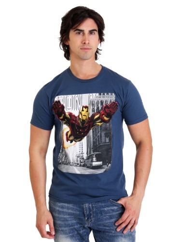 Marvel Iron Man Uptown Flight Mens Light Navy Tee