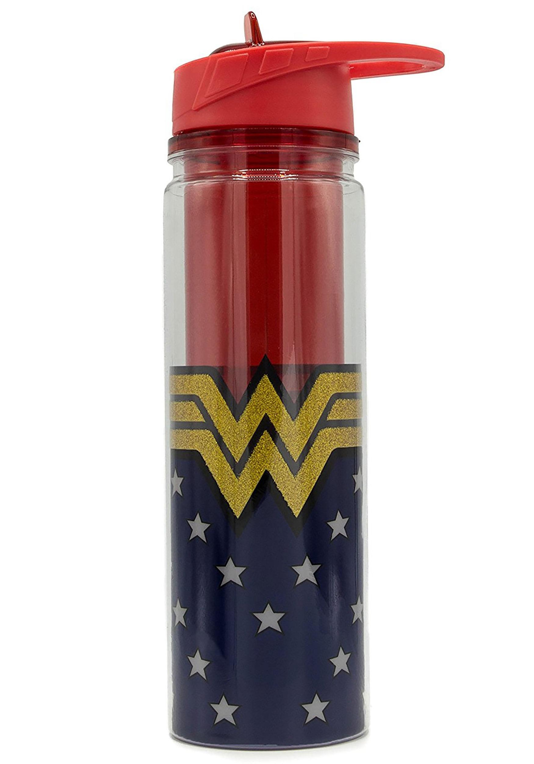 Wonder Woman Logo Tritan Glitter Water Bottle