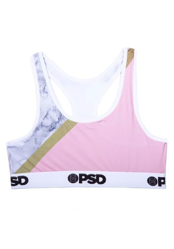 PSD Underwear- Pink Marble Women's Sports Bra