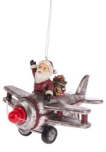 Santa's Ride Airplane Light Up Ornament