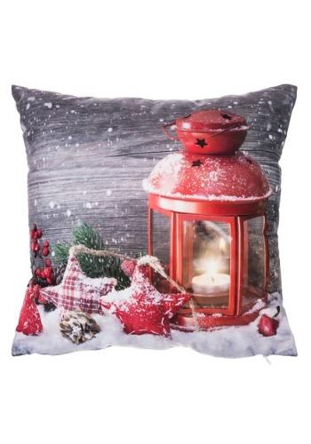 "Christmas Red Lantern 16"" Pillow w/ LED Lights"