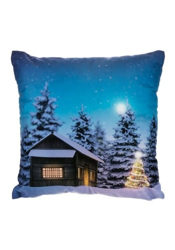 "Christmas Tree & Cabin 16"" Pillow w/ LED Lights"
